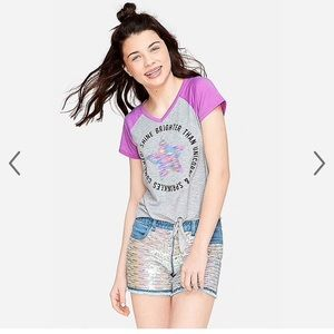 Justice Rainbow Sequin Jean Shorts
